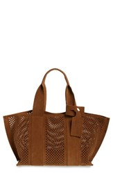 Pedro Garcia 'Castoro' Perforated Suede Tote Brown Cigar