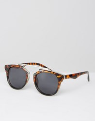 Missguided Geometric Frame Tortoise Shell Sunglasses Brown