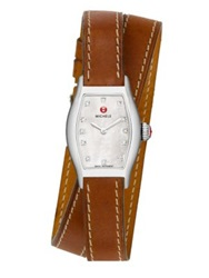 Michele Urban Coquette Diamond Mother Of Pearl Stainless Steel And Leather Double Wrap Strap Watch Brown