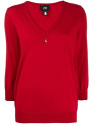 Class Roberto Cavalli Embellished V Neck Pullover Red