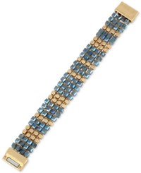 Kenneth Cole New York Gold Tone Beaded Woven Magnetic Clasp Bracelet