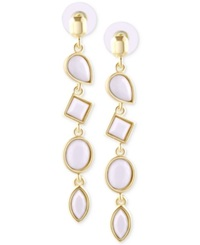 T Tahari Gold Tone White Stone Linear Earrings