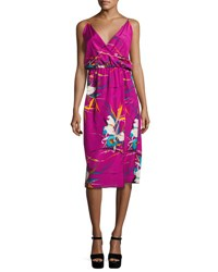 Marc Jacobs Floral Print Sleeveless Surplice Midi Dress Magenta