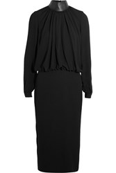 Tom Ford Leather Trimmed Crepe Midi Dress Black