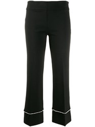 Twin Set Pearl Embellished Cropped Trousers Black
