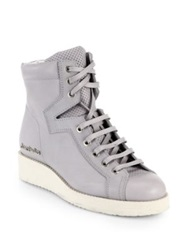 Acne Studios Leather High Top Wedge Sneakers Grey