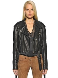 Faith Connexion Fringed Smooth Leather Biker Jacket