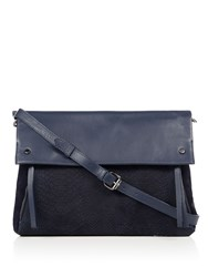 Label Lab Parker Mixed Leather Clutch Bag Navy