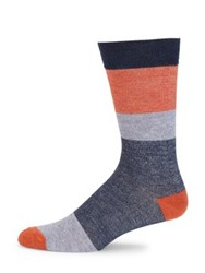 Saks Fifth Avenue Collection Block Striped Socks Grey Teal Orange
