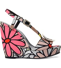 Roger Vivier Floral Print Canvas Wedges Other