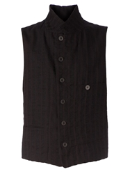 Ann Demeulemeester High Collar Buttoned Vest Black