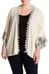 Stony Embroidered Sleeve Crochet Trim Kimono Plus Size Beige