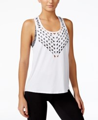 Energie Active Juniors' Laili Laser Cut Tank Top And Printed Sports Bra Bright White