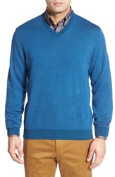 Men's Bobby Jones Merino Wool V Neck Sweater Teal