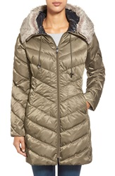 Vince Camuto Lightweight Down Coat With Faux Fur Trim Pale Olive