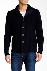 Weatherproof Mock Neck Cardigan Blue
