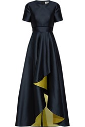 Jason Wu Asymmetric Satin Gown Midnight Blue