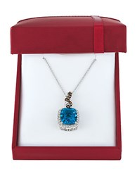 Levian Chocolatier Vanilla Diamonds Chocolate Diamonds Deep Sea Blue Topaz And 14K White Gold Pendant