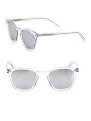 Saint Laurent 49Mm Rectangular Crystal Mirror Sunglasses Silver