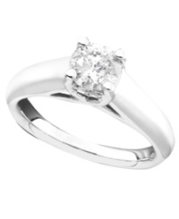 Macy's Certified Diamond Engagement Ring In 14K White Gold 1 Ct. T.W. No Color