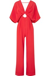 Johanna Ortiz Canna Bow Embellished Silk Crepe De Chine Jumpsuit Red