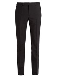 Saint Laurent Slim Leg Pinstripe Wool Blend Suit Trousers Black Multi