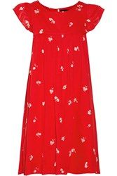Hatch Lula Ruffle Trimmed Printed Cotton Voile Dress Red