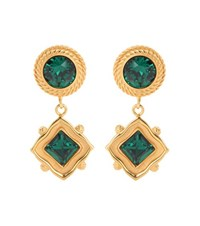 Dolce And Gabbana Crystal Embellished Clip On Earrings Green