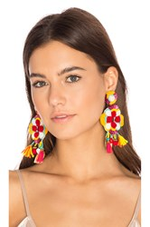 Ranjana Khan Multi Tassel Earring Red