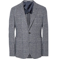 Hardy Amies Navy Herbert Slim Fit Houndstooth Wool Blend Blazer Blue