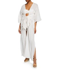 Flora Bella Trouvaille Shimmery Maxi Coverup Caftan White