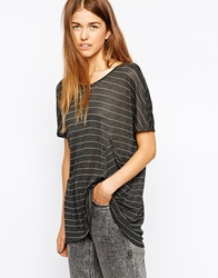 Twisted Muse Tegan Striped Oversized T Shirt Black