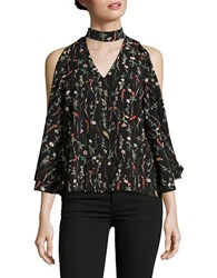Design Lab Lord And Taylor Cutout Cold Shoulder Print Top Black
