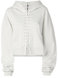 Unravel Project Oversized Lace Up Hoodie Neutrals
