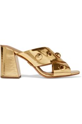 Michael Kors Collection Brianna Embellished Metallic Leather Mules Gold