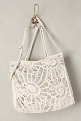 Anthropologie Perforated Spiral Tote White