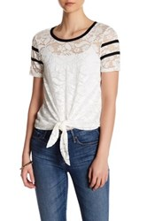 Hip Short Sleeve Lace Baseball Tee White