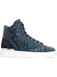 Philipp Plein Crystal Embellished Hi Top Sneakers Blue