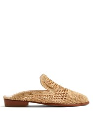 Robert Clergerie Antes Woven Raffia Slip On Loafers Cream