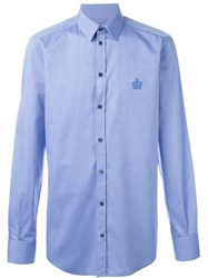 Dolce And Gabbana Embroidered Crown Shirt Blue