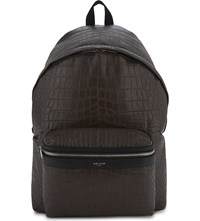 Saint Laurent City Crocodile Embossed Leather Backpack Brown
