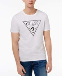 Guess Men's Caged Logo Cotton T Shirt True White
