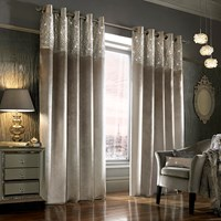 Kylie Minogue At Home Esta Lined Eyelet Curtains Silver