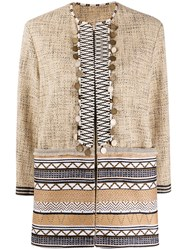 Bazar Deluxe Geometric Jacquard Embellished Jacket Brown
