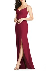 Dessy Collection Crisscross Seam Crepe Gown Burgundy