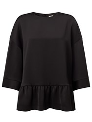John Lewis Kin By Satin Back Crepe Frill Top Black