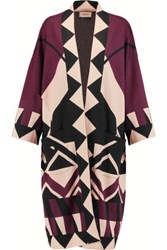 Temperley London Amedee Intarsia Cashmere Cardigan Burgundy