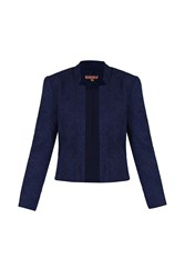 Jolie Moi Open Front Jacquard Jacket Navy