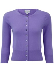 Pure Collection Camilla Crop Cashmere Cardigan Deep Lavender