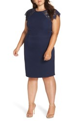 Chi Chi London Plus Size Lace Detail Sheath Dress Navy